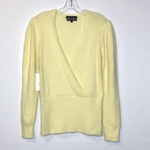 Something Navy Womens Sweater S Alpaca Yellow NEW